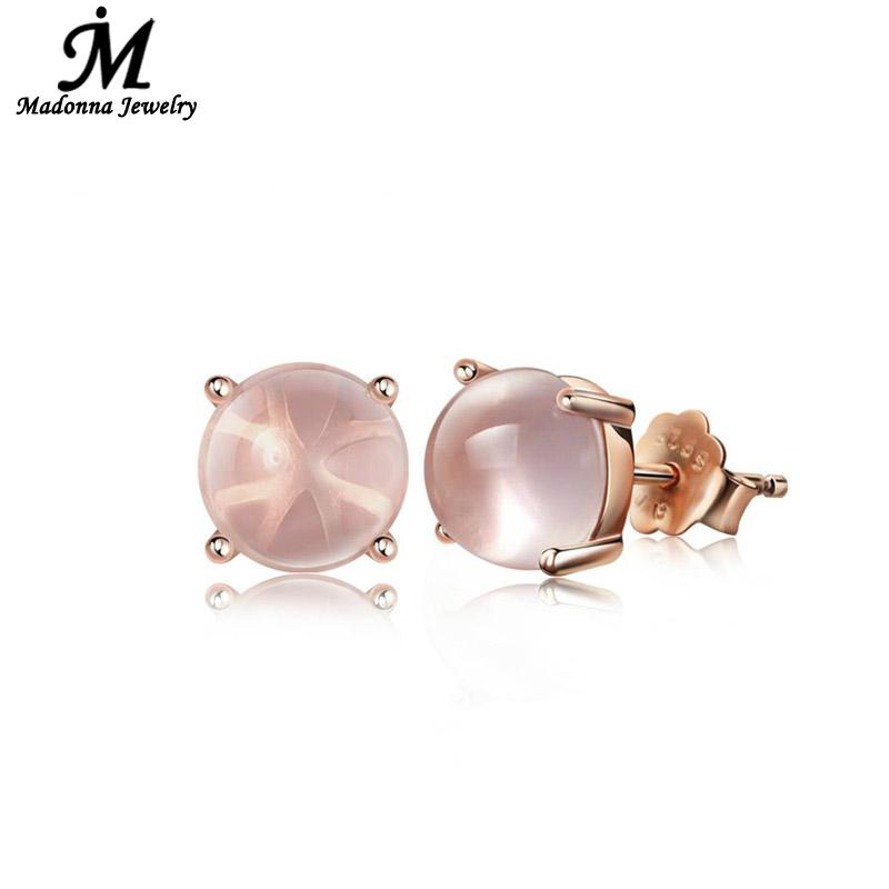 2016 Fashion High Quality Women Simple Quartz Stone Rose Gold Plated Stud Earrings Party Ear Jewelry Accessories wholesale(China (Mainland))