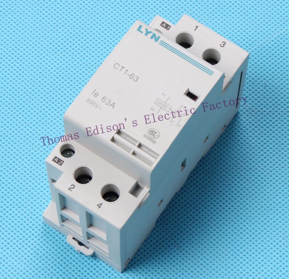 Гаджет  CT1 CT1-63 63A  2P 24V 48V 110V 220V 240V 400V 50or60HZ Din rail Household AC Contactor Starter None Электротехническое оборудование и материалы