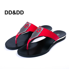 DD&DD Women Sandals 2016 Summer shoes  For  Women Flip Flops With Metal Black Red Slippers Shoes  Flat Heels Tong Sandals