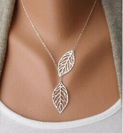 Star Jewelry LOSS MONEY SALE Fashion Women Double Leaf Necklace Fashion Leaf Pendant Necklaces for women 2015(China (Mainland))