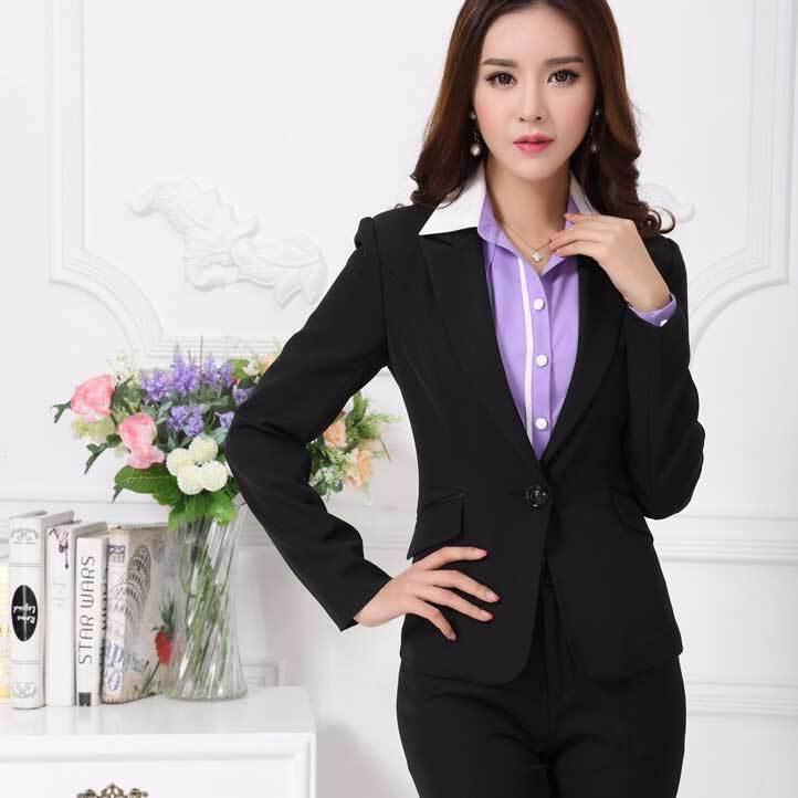 spring women pants suits work wear new 2015 fashion formal business office uniform style black women sets clothes plus size xxxl(China (Mainland))