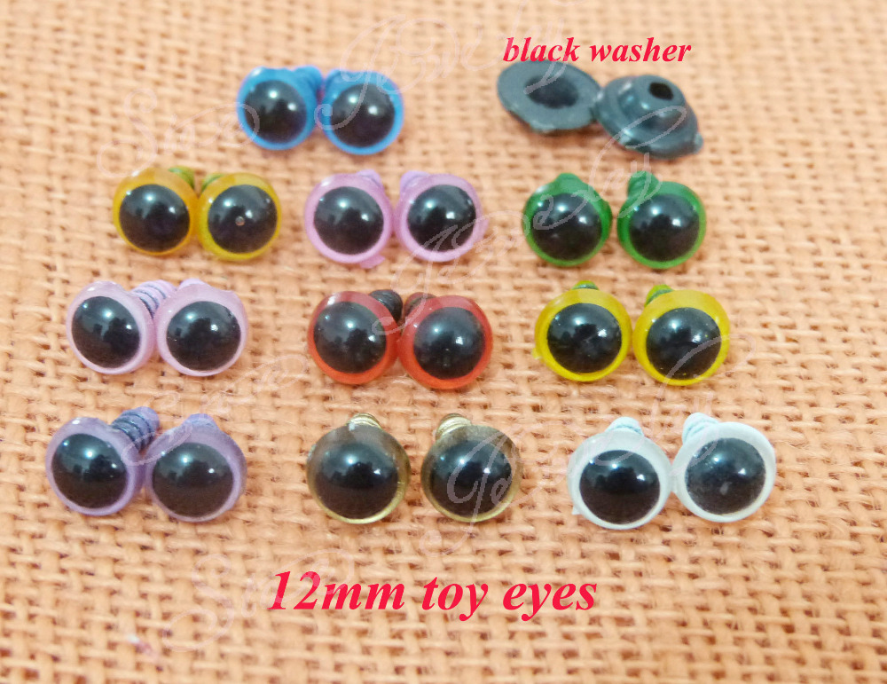 12mm  plastic clear colorful safety  toy eyes & black color washer for DIY plush animal doll accessories ---100pcs/lot----