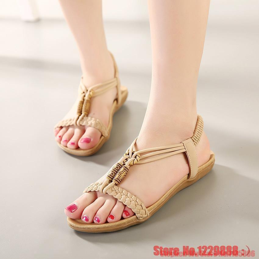 size 35 42 vintage women sandals fashion Beads flat sandal ...