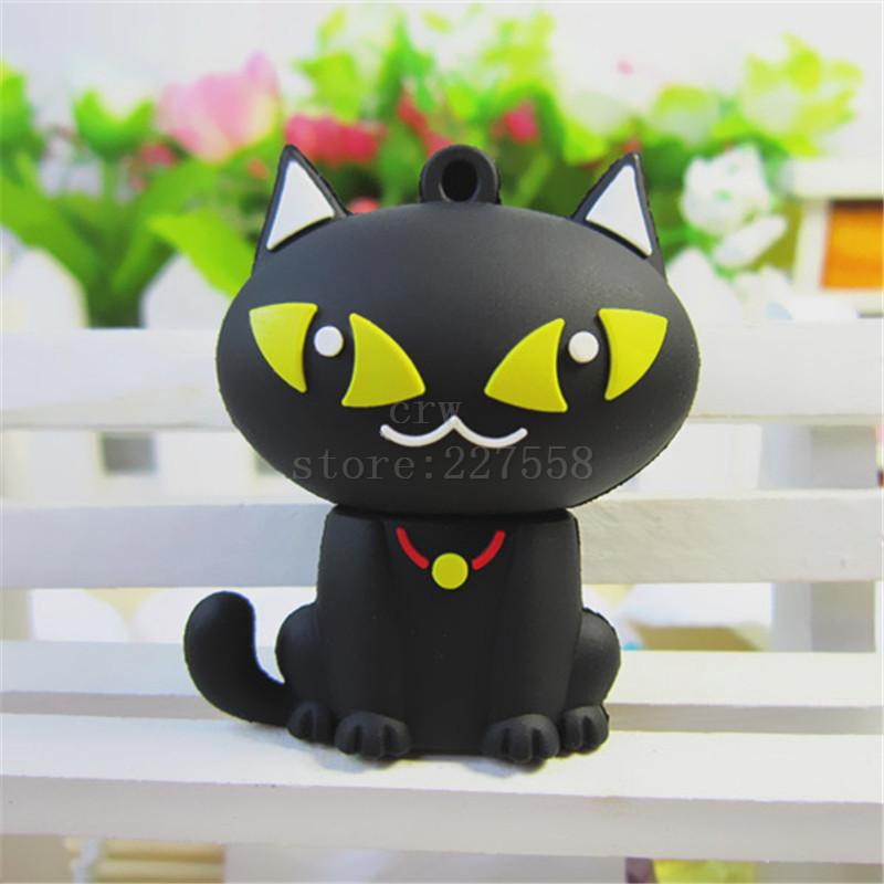 Plastic Cartoon black cat U Disk pen drive cartoon 8gb/16gb/32gb/64gb bulk usb flash drive flash memory stick pendrive mini(China (Mainland))