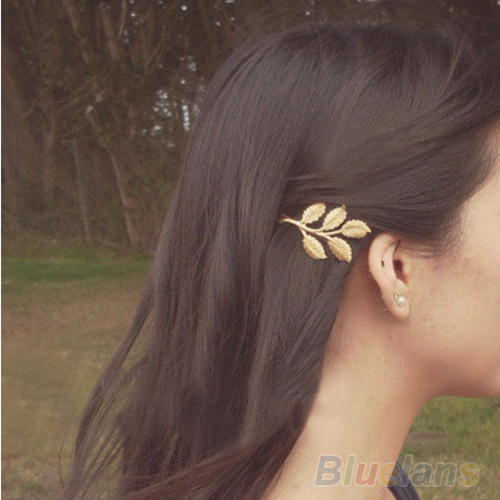 1Pc Fashion Lovely Leaves Golden Metal Punk Hairpin Hair Clip Hair accessories 0587(China (Mainland))