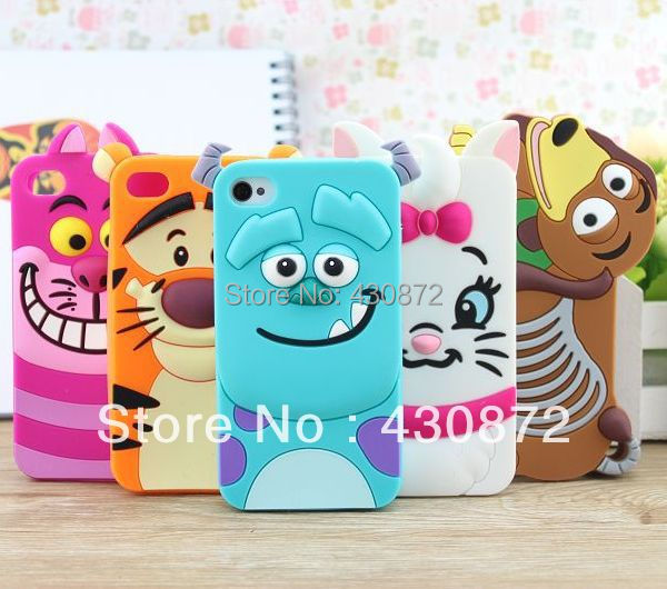 For iphone 5 5s case cover Cute Animal rubber silicone cartoon phone cases covers to iphone5 free shipping(China (Mainland))