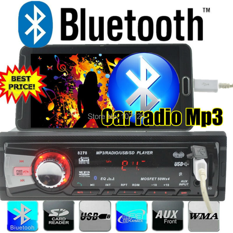 NEW 12V Car radio car audio bluetooth Stereo blue tooth Player Phone hand free AUX-IN MP3 FM USB 1 Din remote control in dash(China (Mainland))
