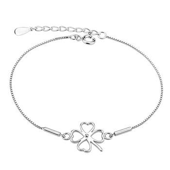 2014 New 100% Sterling Silver 925 Jewelry Clover Bracelet Silver Bracelets & Bangles Fine Jewelry Free Shipping