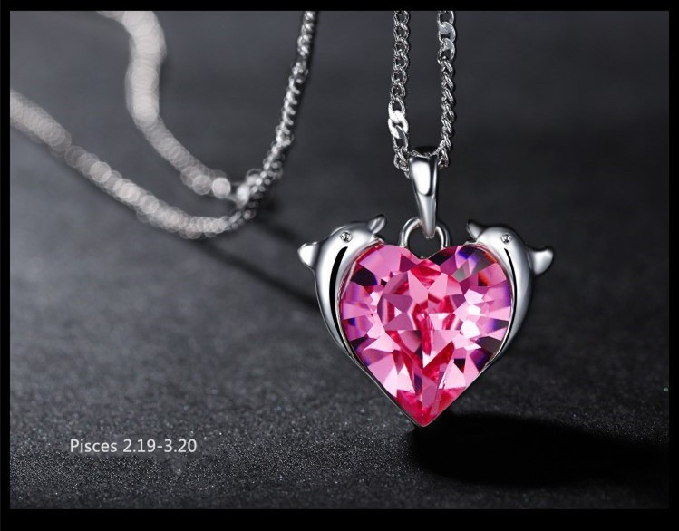 Lovely Heart Shaped Pink Crystal Dolphin Pisces Constellation Necklace for Women Pisces Necklace(China (Mainland))