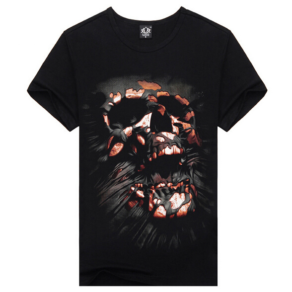 New Fashion 2015 Men Clothing Skull Printed 3D T Shirt O-neck Casual T-shirt Men Short Sleeve Cotton T-Shirts Camisa MasculinaОдежда и ак�е��уары<br><br><br>Aliexpress