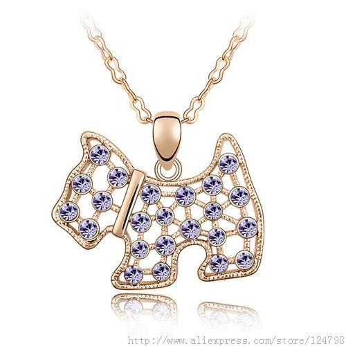 Statement Necklace Austria Crystal Westie For Scottish Scottie Dog Puppy Pendant Chain Necklace Christmas Best Friend Gift New(China (Mainland))