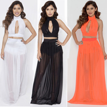 Casual Women Maxi Dress Summer Style Sexy 2 Pieces Set Backless Off-shoulder Black/White/Orange/Blue Long Mesh Dresses(China (Mainland))
