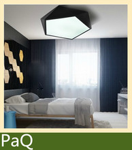 Modern Ceiling LED lamp 45cm Geometric polygon iron baked paint body Acrylic faceplate panel for Bedroom light fixture(China (Mainland))