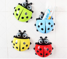 Lovely Ladybug Toothbrush Wall Suction  Bathroom Sets Cartoon Sucker Toothbrush Holder / Suction Hooks(China (Mainland))