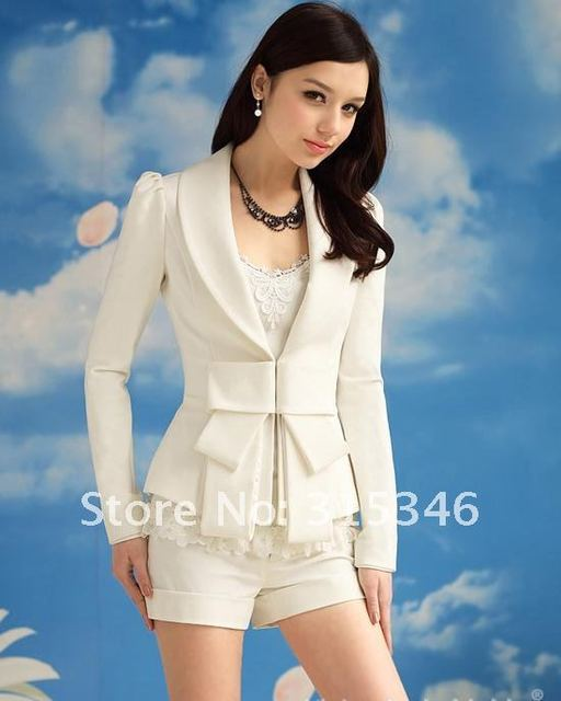 Hot sale Coats Women Outwear White Suits Slim Fit Bowknot OL Style Long Sleeve Ladies Coat Small Suit Autumn Clothing