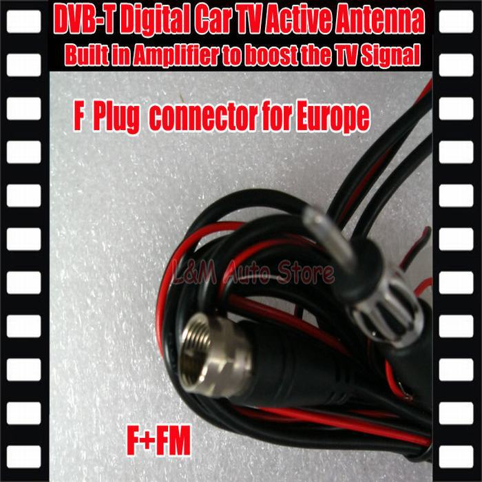Promotion !!! Car DVB-T ISDB-T Digital TV Antenna Active TV Antenna with Amplifier special, F connector for Europe Car Antenna(China (Mainland))
