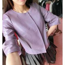 Women Genuine Leather Jackets and Coats Autumn Outerwear Light Purple/Black/Slim/Sheepskin LW9066(China (Mainland))