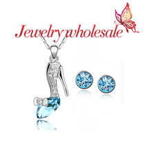 ON sale trendy jewelry you are my Cinderella jewlery set colorful necklace earrings(China (Mainland))
