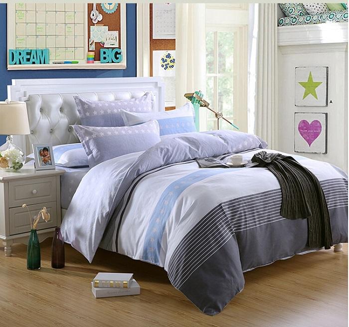 Factory Outlet!Brief Desinger Bedding Set Cotton Set Sheets Geometric Stripe Grey Bed Linens Queen Size Conforter Set cubrecamas(China (Mainland))
