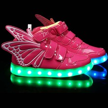 25-37 Size USB Charging Children Casual Shoes For Kids Light Up Shoes Boys&Girls Led Luminous Growing Sneakers Chaussure Enfant