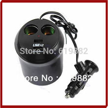 A31 Free Shipping USB Charger Socket Car Cigarette Lighter Dual Cup Holder Adapter Power Supply Hotsell(China (Mainland))