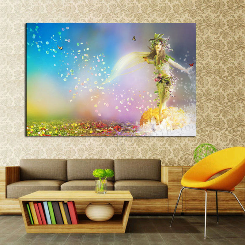 1 Piece Abstract Picture Little Mermaid With Flower Modern Home Wall Decor Canvas Art HD Print Painting  for living room