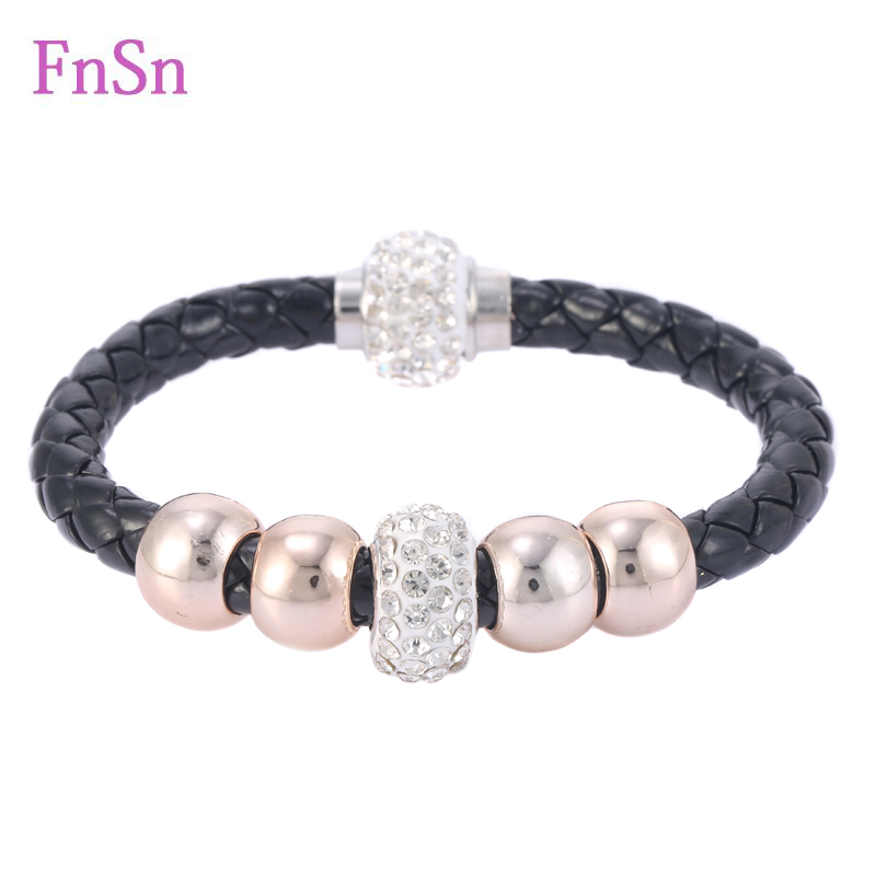 Hot Bracelets For Women Fill Crystal Stones Leather Strand Bracelet With Magnetic Clasp Wristband Rope Braided Bracelets Jewelry(China (Mainland))