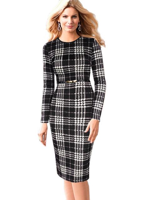 eSale Womens Autumn Elegant font b Tartan b font Check Plaid Long Sleeve Wear to Work