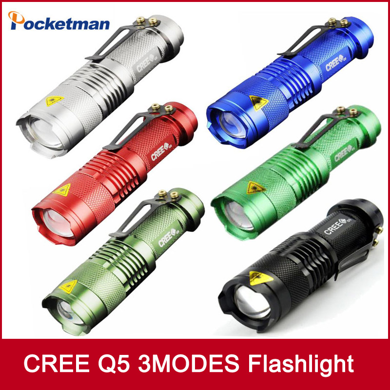 Mini FlashLight CREE Q5 Lumens 3 Modes LED Flashlight Adjustable Focus Lantern Portable Lights Hunting Spotlight AA 14500(China (Mainland))