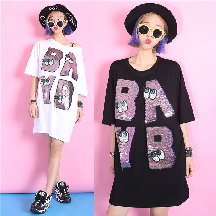 Jasmine fashion applique embroidery paillette pattern loose plus size fifth sleeve t-shirts(China (Mainland))