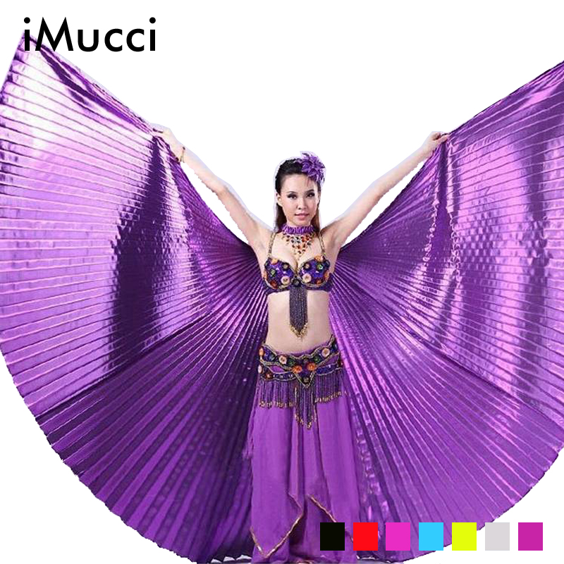 iMucci Audlt 145CM Belly Dance Wing Fan Isis Wings 360 Degree Egypt Indian Dancing Golden Bellydance Performance Accessories(China (Mainland))