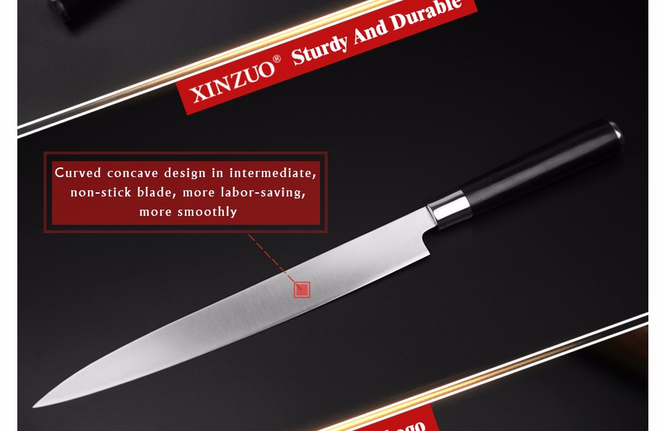 Buy XINZUO 10.5 inch sashimi knife with Scabbard Germany steel Willow kitchen knife One-sided fish knives Ebony handle free shipping cheap