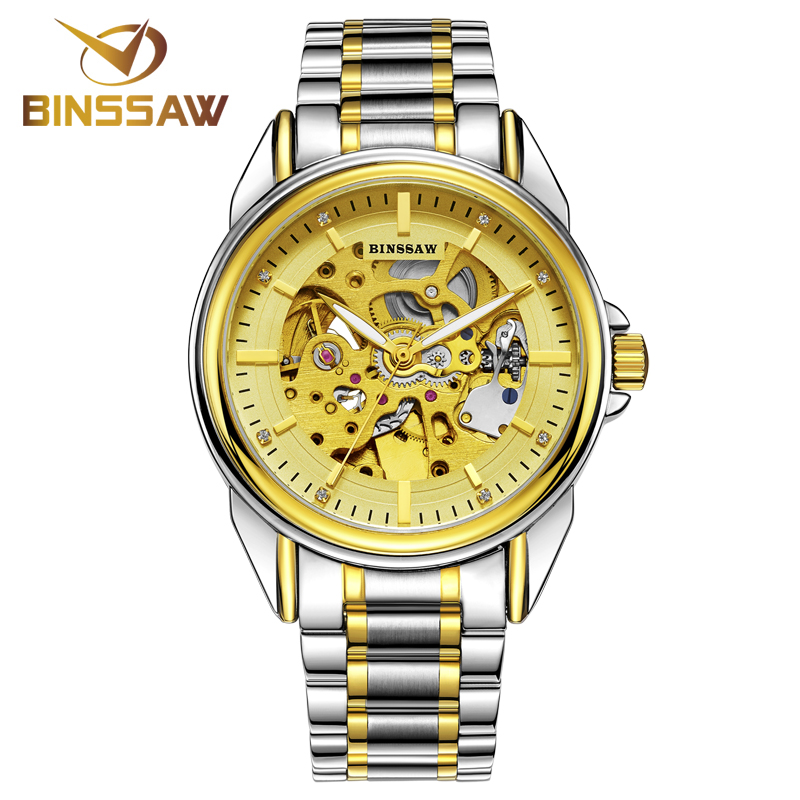 Фотография BINSSAW New Design Watches steel Brand Automatic Mechanical Watch Men Skeleton Swimming Watches 30M Waterproof Sport Watch