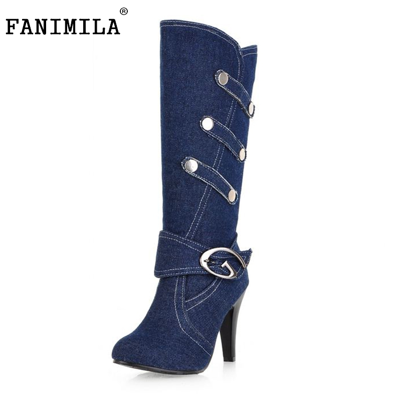 Size 32-43 Fashion Women Half Knee Boots Sexy Spiked High Heels Canvas Upper Denim Buckle Strap Shoes Spring Autumn  -  Shop1267192 Store store