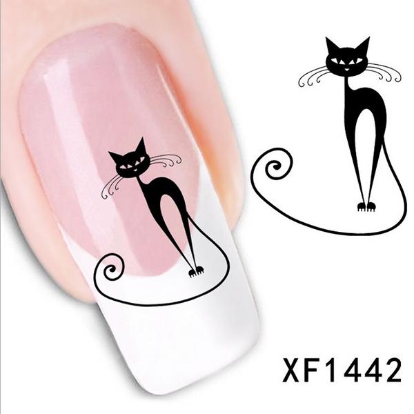 Гаджет  Hot New Cute Black Cat Nail Sticker Art Water Transfer Slide Decals Sticker Tips DIY Rhinestone Decoration None Красота и здоровье