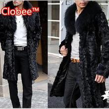 2016 Plus Size X-Long Big Fox Fur Turn-Down Collar Casual Formal Black Men's Winter Mink Overcoat Thick Warm Faux Fur Coat V553(China (Mainland))