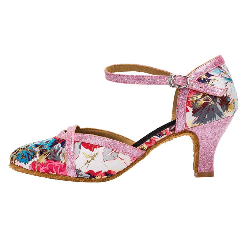 HXYOO Closed Toe Shoes Ballroom dancing Women Satin Soft Sole Flower with Pink Salsa Latin Tango Shoes Female Ladies WK018