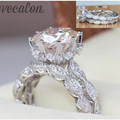 Vecalon 2016 Vintage Engagement wedding Band ring Set for women 3ct AAAAA Zircon cz 925 Sterling