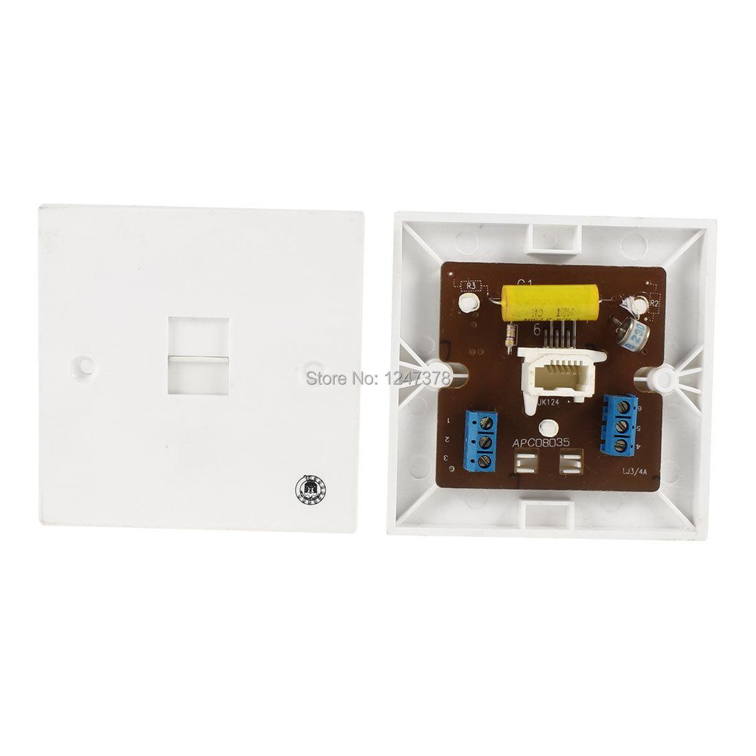 2 Pcs/lot 6P4C 4 Pins BT RJ11 Socket Telephone Surge Protector Wall Plate Gray(China (Mainland))