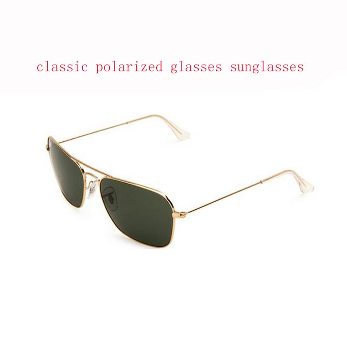classic man square polarized glass lenses sunglasses gold frame dark green G15 Eyewear Personality rb glasses 3477 oculos(China (Mainland))