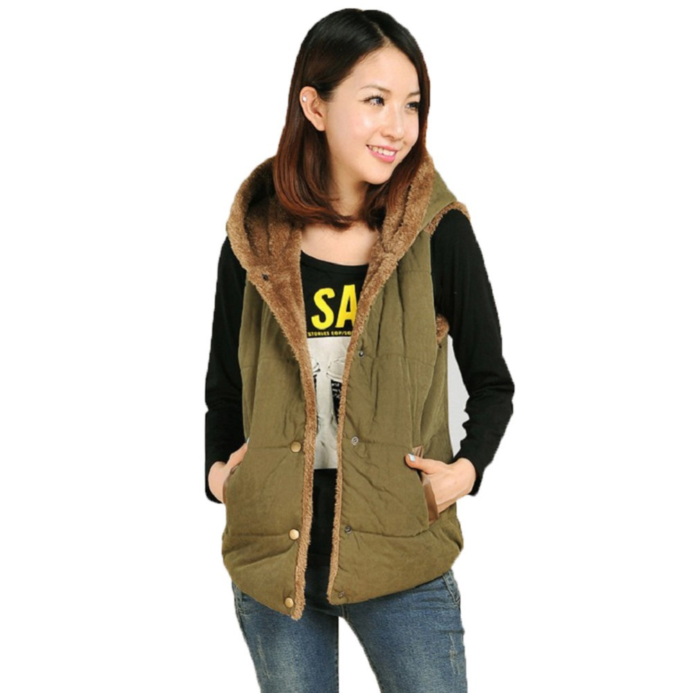 New Autumn Winter Style Women s Fashion Hooded Jacket Thick Warm Down Cotton Vest All purpose