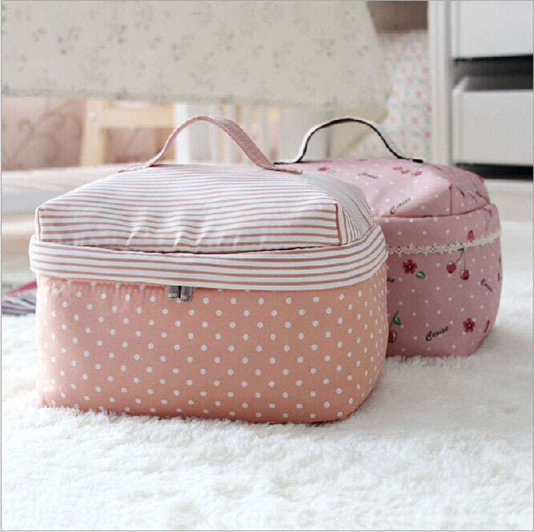 New Trendy Multipurpose Handbags Cosmetic Bags Women Dot & Stripe Print Leather Travel Bag For Make Up Purse Case Cell Phone Bag(China (Mainland))