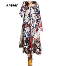 Buy new fashion cotton linen vintage print plus size women casual long loose autumn dress vestidos femininos party 2017 dresses for $14.97 in AliExpress store
