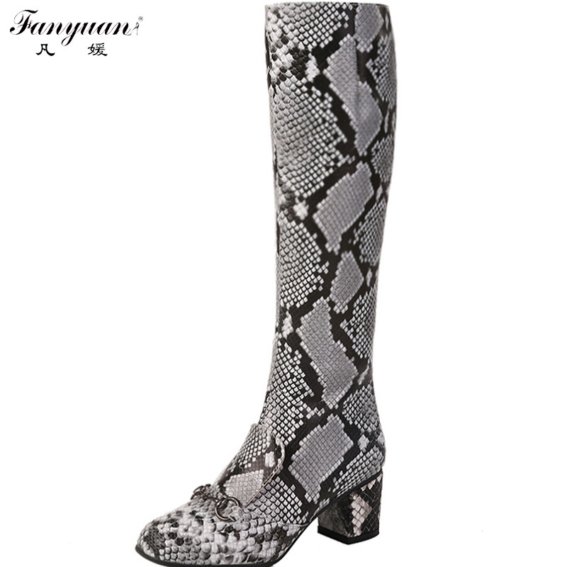 New 2016 Autumn Snake Print Women Mid-Calf Fashion Boots Side Zip Square Heel Animal Print Boots Lady Square Toe Mid-Calf Boots(China (Mainland))