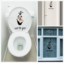 "Olaf "" let it go "" Funny Novelty Toilet Seat/Sticker/Decal Fashion 3D Wall Stikcers On The Wall Home Decoration(China (Mainland))"