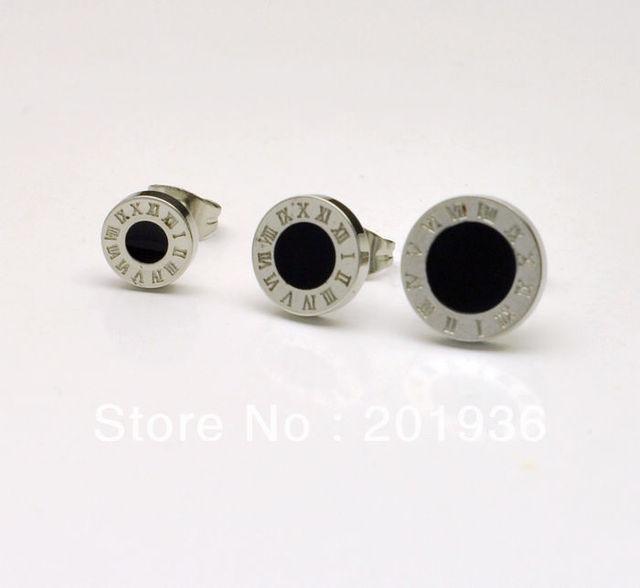 Free shipping,men's fashion Titanium steel stud earring,black,roman numerals/great wall/Constellation,Dia.:8/10/12,Gift