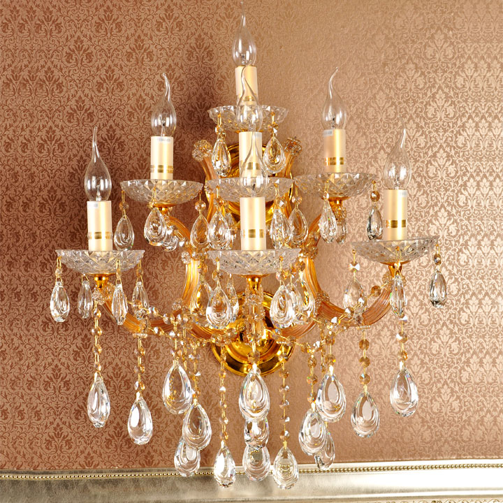 Living Room Crystal Wall Sconces : 7head Golden crystal lighting wall lamps living room bedroom wall lamp villa hotel candle wall ...