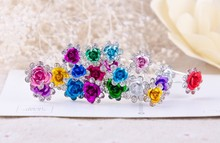 200pcs/lot Free Shipping Rose Flower Crystal Hair Pins, U shape Hair Clips. Party Prom Hair Accessories, Fashion Cheap Wholesale(China (Mainland))