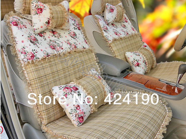 wholesale auto interior car accessories car seat cover set with flower lace women cute car seat. Black Bedroom Furniture Sets. Home Design Ideas