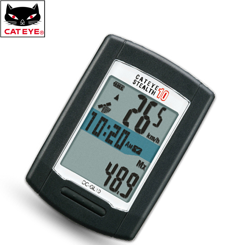 CATEYE Cycling Mountain Road Bike Bicycle STEALTH 10 Wireless GPS Computer Speedomete With 8 Functions Black<br>